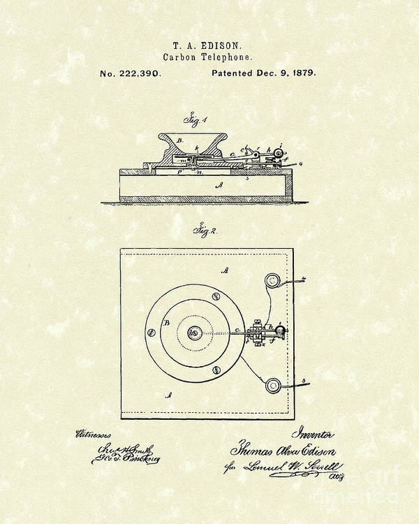 Edison Poster featuring the drawing Edison Telephone 1879 Patent Art by Prior Art Design