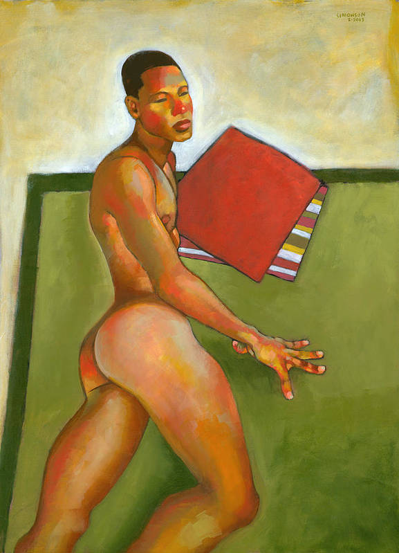 Male Figure Poster featuring the painting Eduardo On Green Blanket by Douglas Simonson