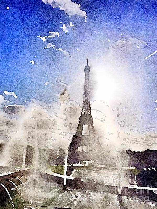 Eiffel Tower Poster featuring the painting Eiffel during summer by HELGE Art Gallery