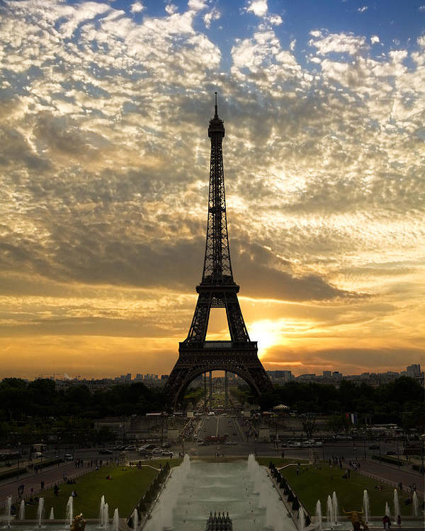 Clouds Poster featuring the photograph Eiffel Tower At Sunset by Debra and Dave Vanderlaan