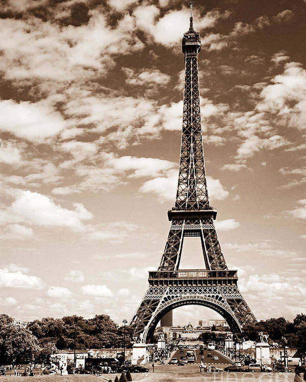 Eiffel Poster featuring the photograph Eiffel Tower In Sepia by Elena Elisseeva