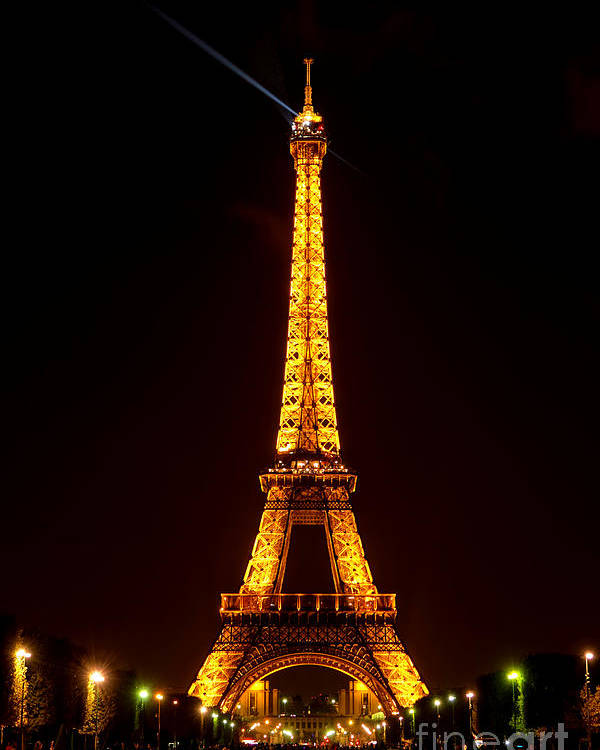 Eiffel Poster featuring the photograph Eiffel Tower Night by Olivier Le Queinec