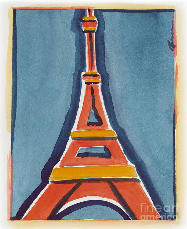 Effel Tower Poster featuring the painting Eiffel Tower Orange Blue by Robyn Saunders