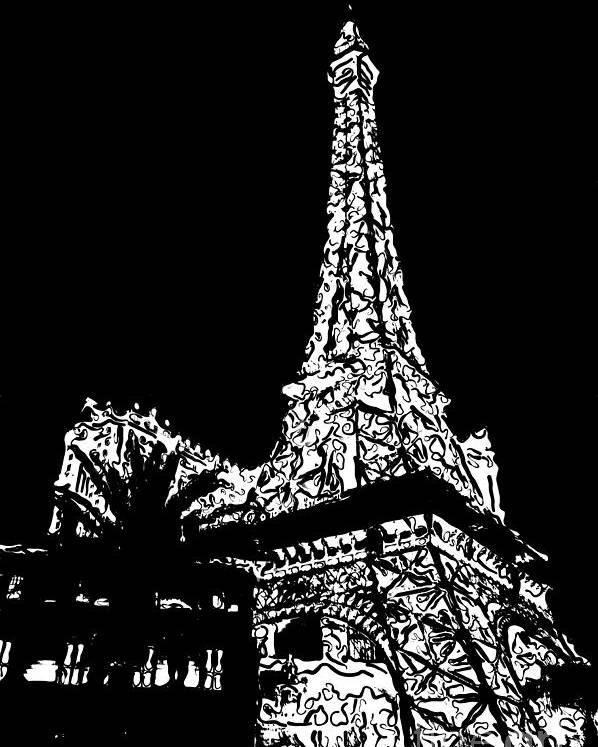 Paris Poster Black And White: Eiffel Tower Paris Hotel Las Vegas