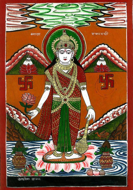 Incarnation Poster featuring the painting Ek Darshi Mata Vishnu Avatar by Ashok Kumar