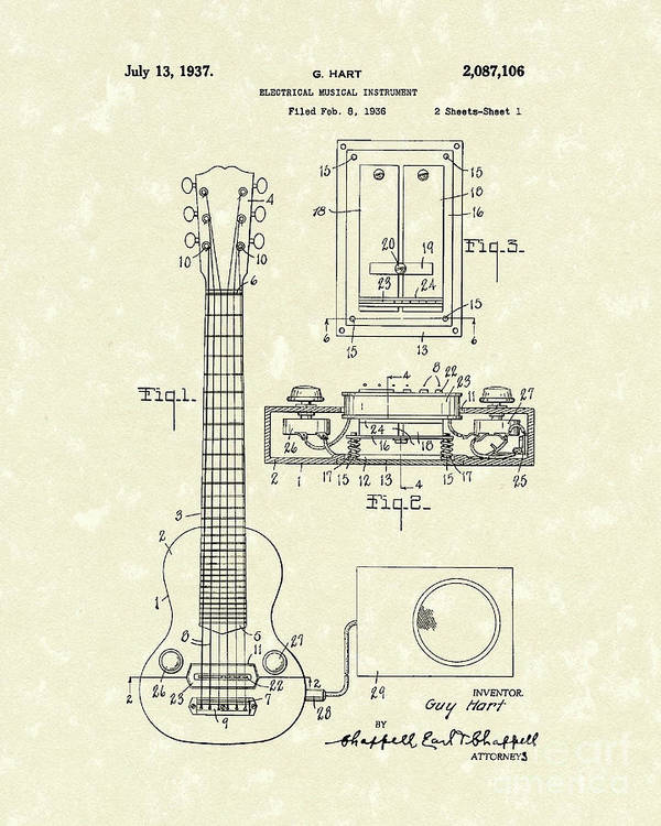 Hart Poster featuring the drawing Electric Guitar 1937 Patent Art by Prior Art Design