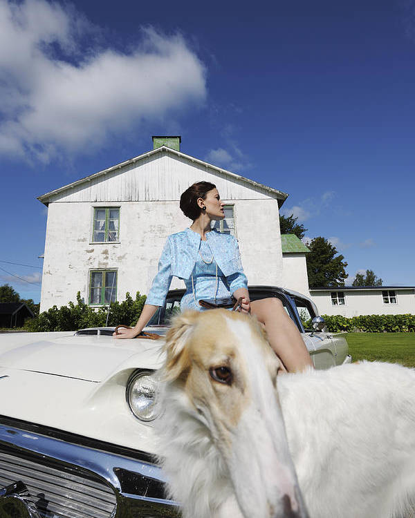 Borzoi Poster featuring the photograph Elegant Woman And Borzoi Dog by Christian Lagereek