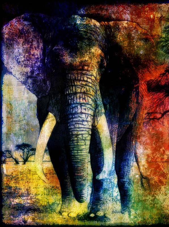Animals Poster featuring the mixed media Elephant by Wendie Busig-Kohn