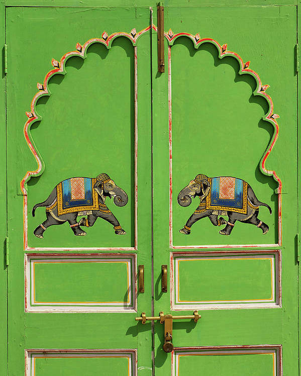 16th Century Poster featuring the photograph Elephants Painted On Green Door, City by Adam Jones
