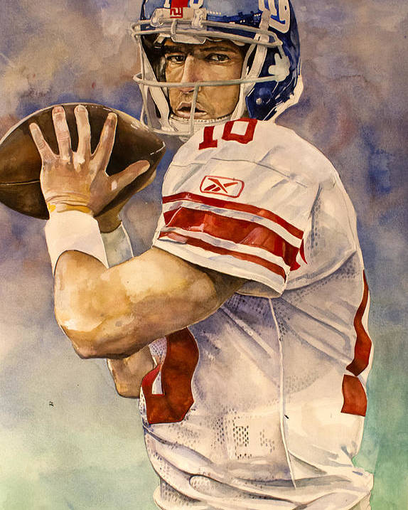 Eli Manning Poster featuring the painting Eli Manning by Michael Pattison