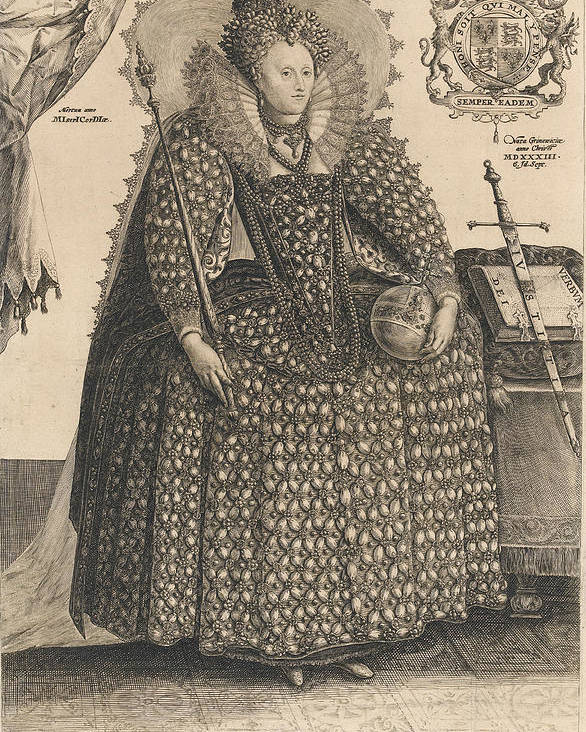 Female Poster featuring the drawing Elizabeth, Queen Of England, C.1603 by Crispin I de Passe