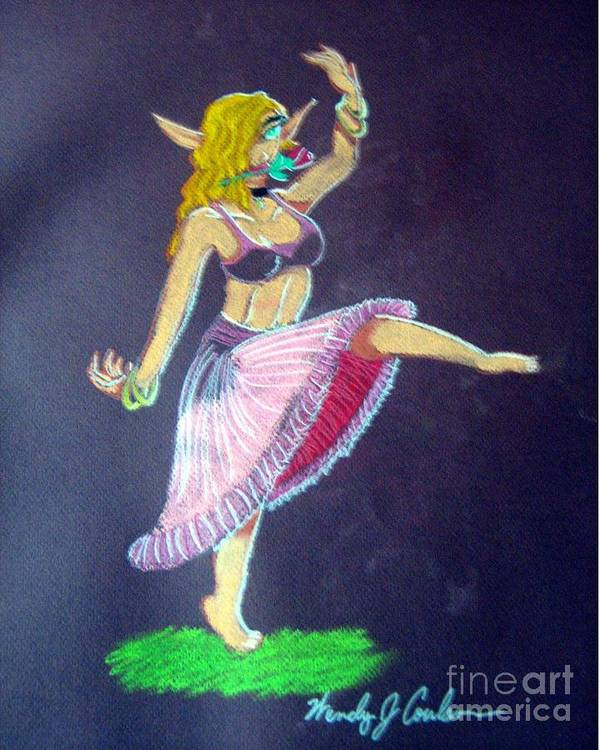 Elf Poster featuring the pastel Elven Belly Dancer by Wendy Coulson