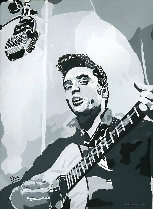 Elvis Presley Poster featuring the painting Elvis At Sun by Suzanne Gee