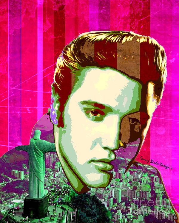 Elvis Poster featuring the digital art Elvis In Rio by Sanuj Birla