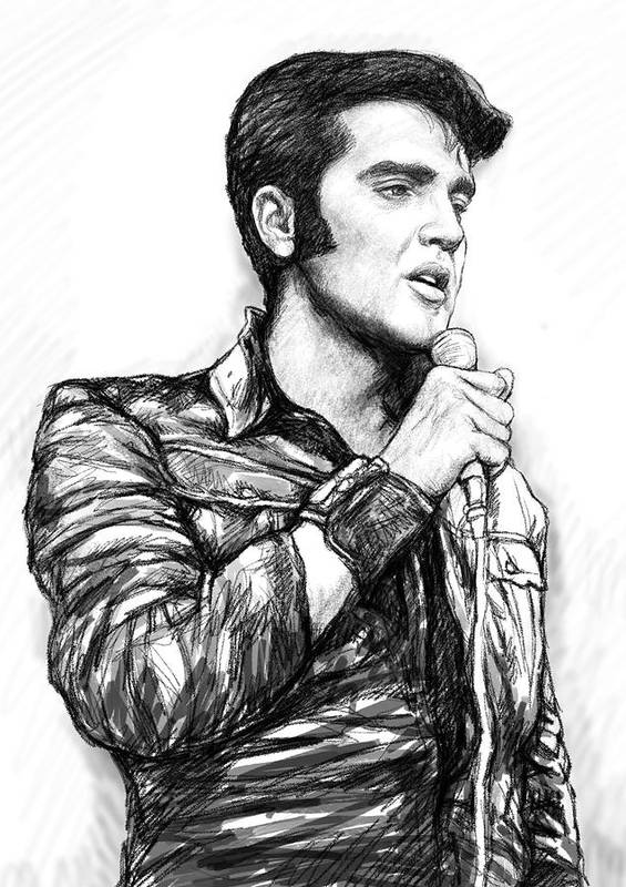Elvis Presley Art Drawing Sketch Portrait Poster featuring the painting Elvis Presley Art Drawing Sketch Portrait by Kim Wang