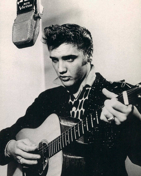 Classic Poster featuring the photograph Elvis Presley Plays And Sings Into Old Microphone by Retro Images Archive