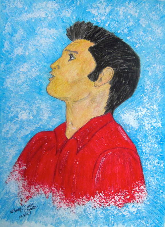 Elvis Presely Poster featuring the painting Elvis Presley Singing by Kathy Marrs Chandler