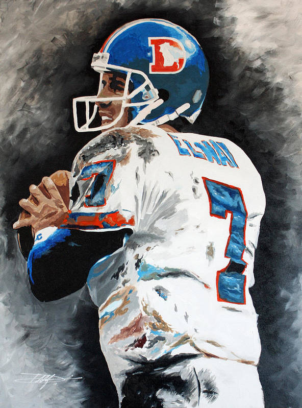 Elway Poster featuring the drawing Elway by Don Medina