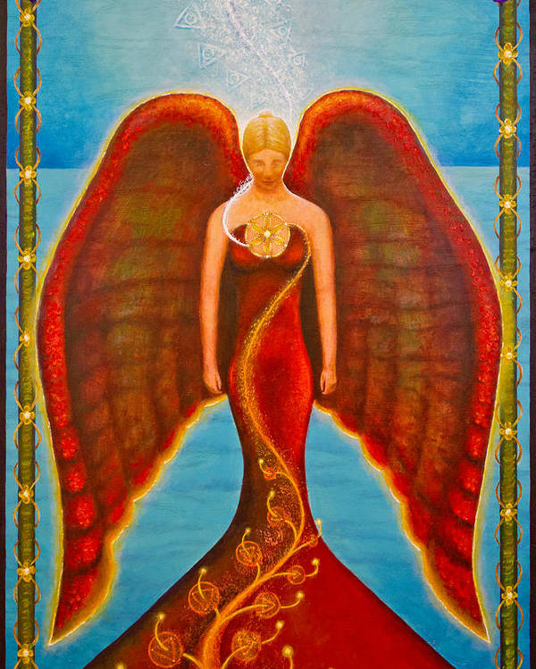 Angel Poster featuring the painting Emeliah Angel Of Inner Journeys by Kevin Chasing Wolf Hutchins
