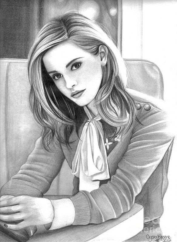 Emma Watson Poster featuring the drawing Emma Watson by Crystal Rosene