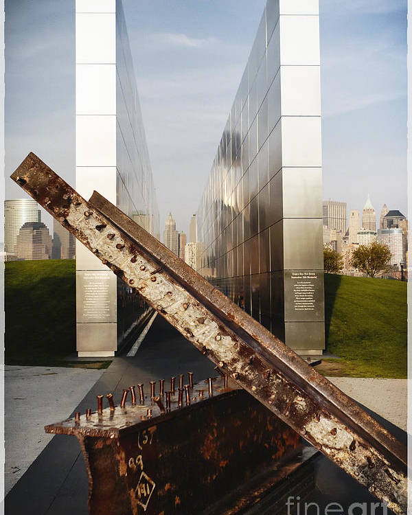 Empty Sky Poster featuring the photograph Empty Sky New Jersey September 11th Memorial by George Oze
