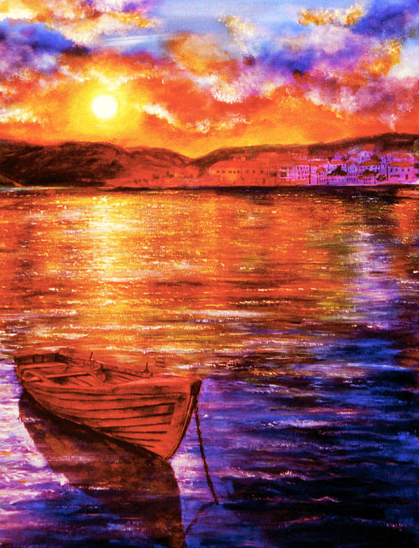 Hand Painted Poster featuring the painting Enchanted Evening by Ann Marie Bone