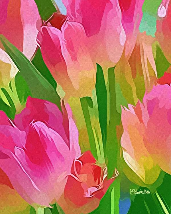 Tulips Poster featuring the digital art Encouragement by Peggy Gabrielson