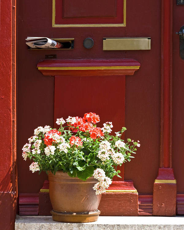 Poster featuring the photograph Entrance Door With Flowers by Heiko Koehrer-Wagner
