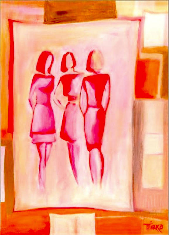 Girls Poster featuring the painting Entre Nous by Mirko Gallery