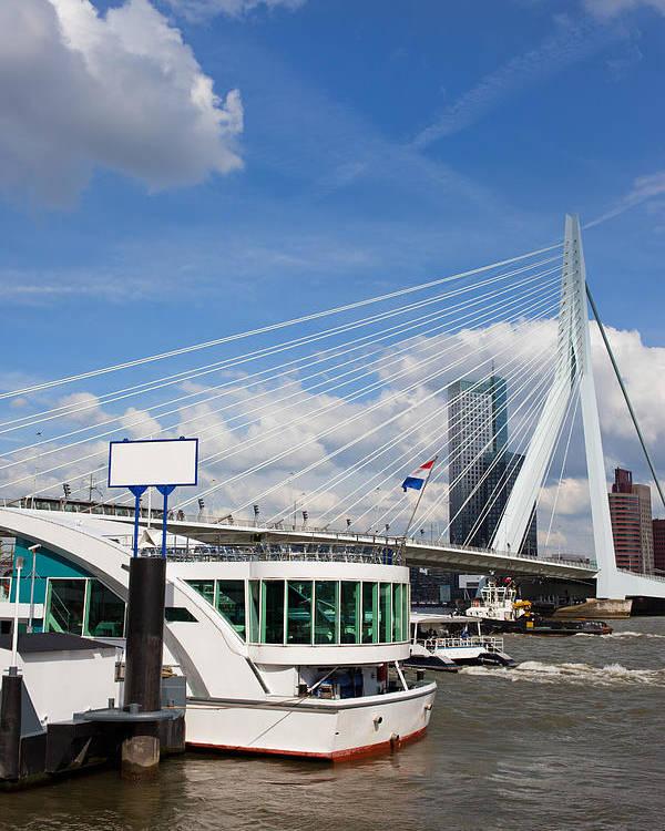 Rotterdam Poster featuring the photograph Erasmus Bridge In Rotterdam City Downtown by Artur Bogacki