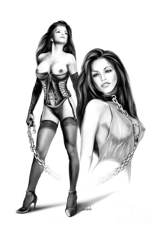 Spano Poster featuring the painting Erotic Lesbian Pet By Spano by Michael Spano