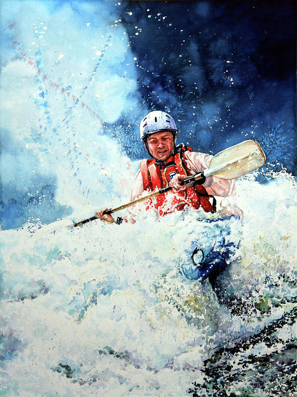 Kayak Poster featuring the painting Eskimo Rolls by Hanne Lore Koehler