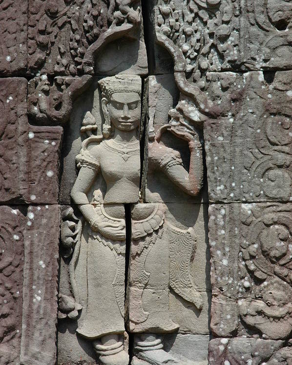 Architectute Cambodia Asia Monuments Stone Temple Old Godess Carving Sculpture Poster featuring the photograph Eternity by Ira Zamora