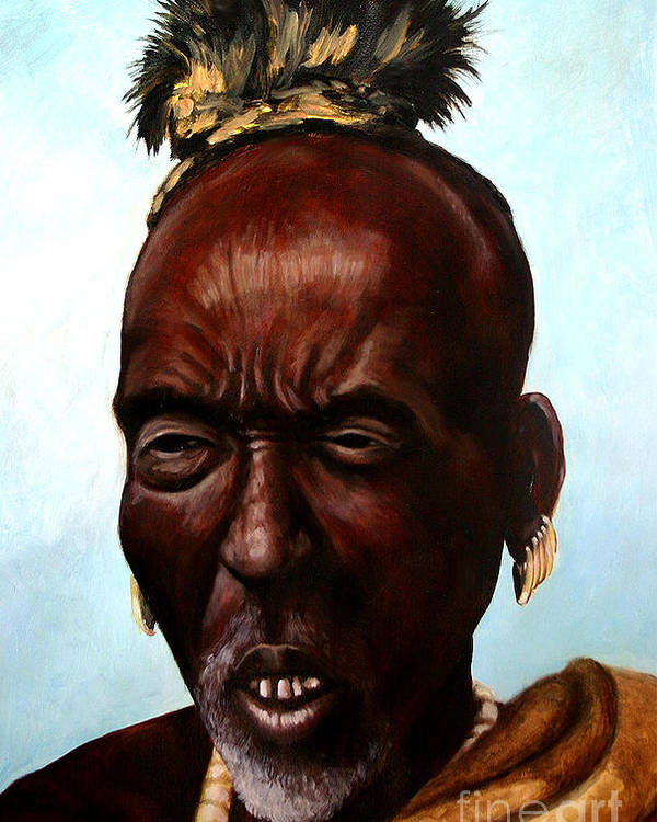 People Of Indigenous Cultures Poster featuring the painting Ethiopian Elder 3 by Joel Thompson