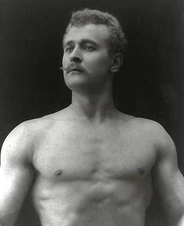 Eugen Sandow; Bodybuilder; Pioneer; Pioneering; Male; Physique; Competitor; Star; Competition; Body; Building; Pose; Posing; Model; Moustache; Nude; German; Ziegfeld Follies; Follies; Ideal; Standard; Modelling Poster featuring the photograph Eugen Sandow by American Photographer