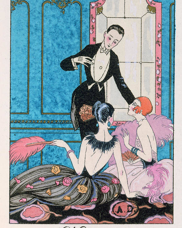 Male Poster featuring the painting 'europe' Illustration For A Calendar For 1921 by Georges Barbier
