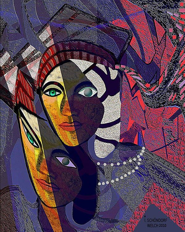 Woman Poster featuring the painting 105 Even With One Eye You Can See  by Irmgard Schoendorf Welch