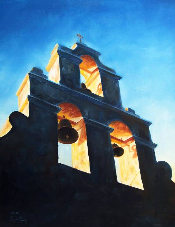 Building Poster featuring the painting Evening Mission by Scott Alcorn