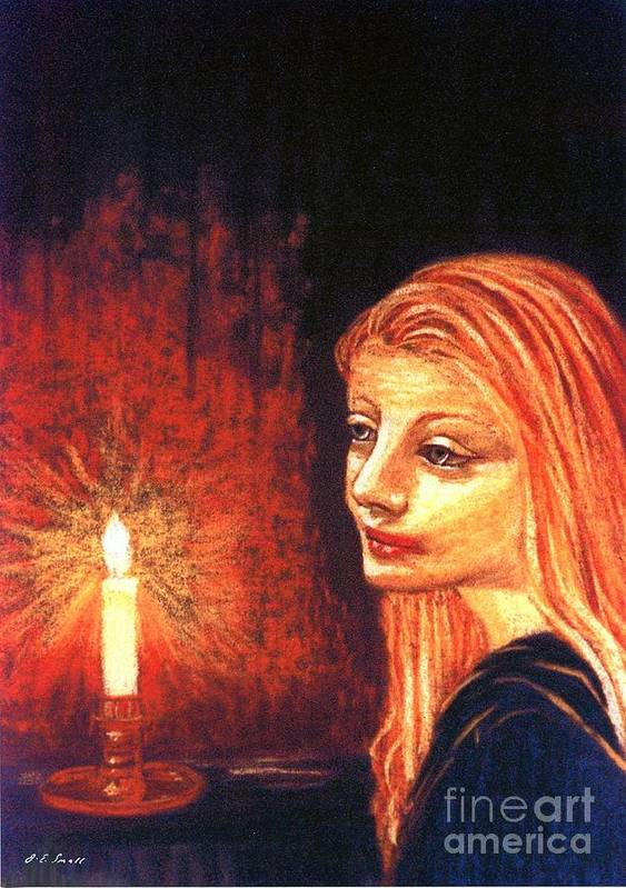 Candle Poster featuring the painting Evening Prayer by Jane Small
