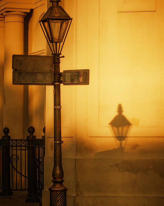 Lamp Post Poster featuring the photograph Evening Shadow In Jackson Square by Brenda Bryant
