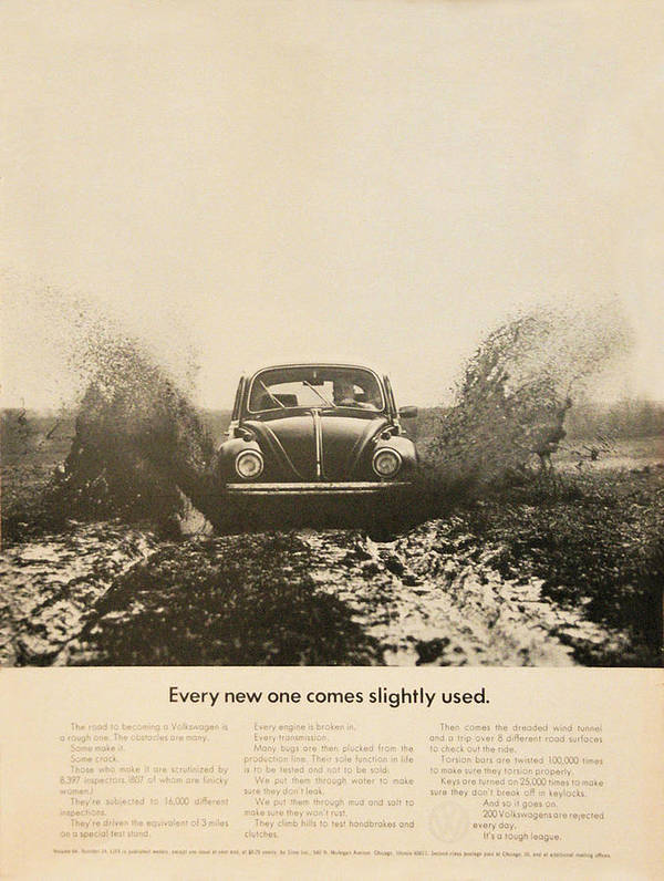 Vw Beetle Poster featuring the digital art Every New One Comes Slightly Used - Vintage Volkswagen Advert by Georgia Fowler