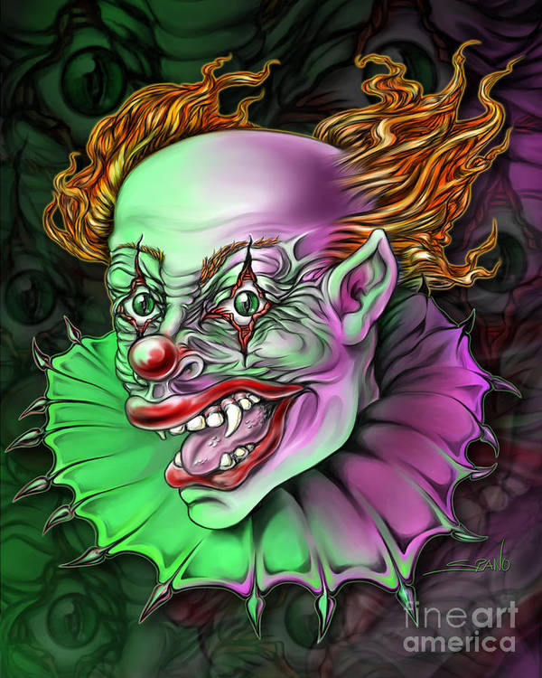 Spano Poster featuring the painting Evil Clown By Spano by Michael Spano