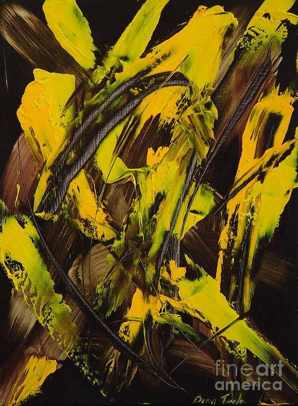 Abstract Poster featuring the painting Expectations Yellow by Dean Triolo