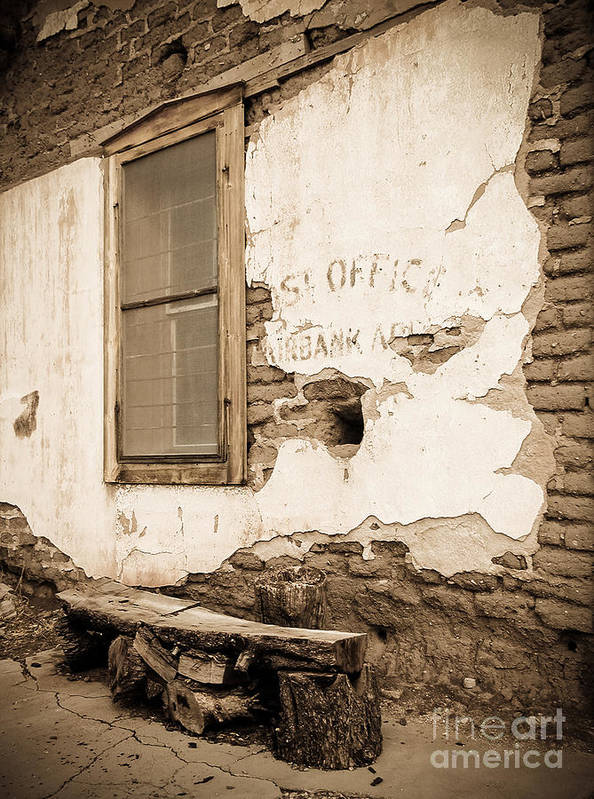 Abandoned Poster featuring the photograph Fairbank Post Office 1 - Sepia Toned by Al Andersen