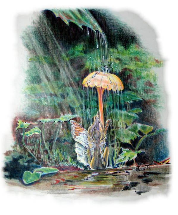 Fairy Poster featuring the drawing Fairy Shower by Susan Moore