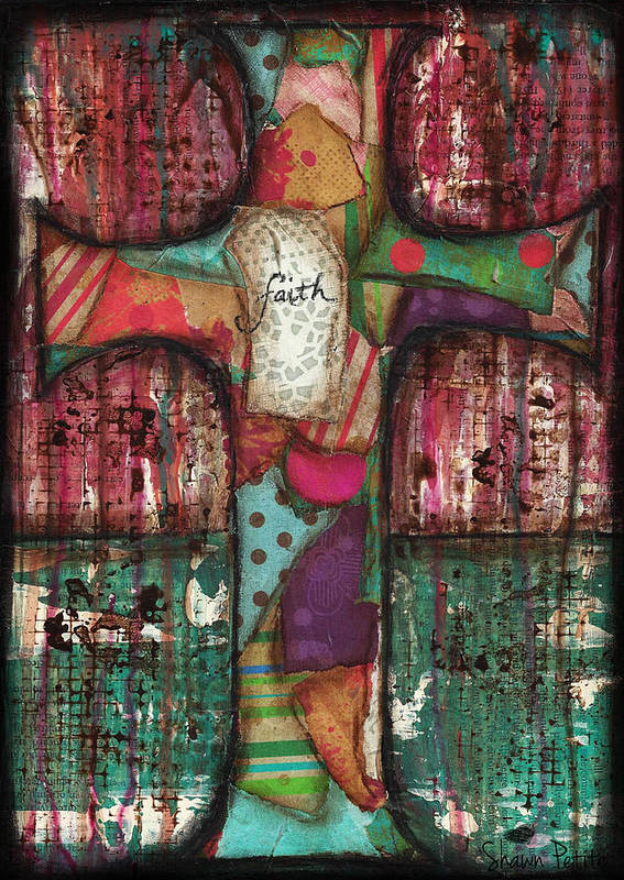 Cross Poster featuring the mixed media Faith by Shawn Petite
