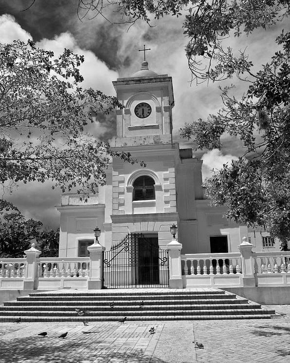 Poster featuring the photograph Fajardo Church And Plaza B W 3 by Ricardo J Ruiz de Porras