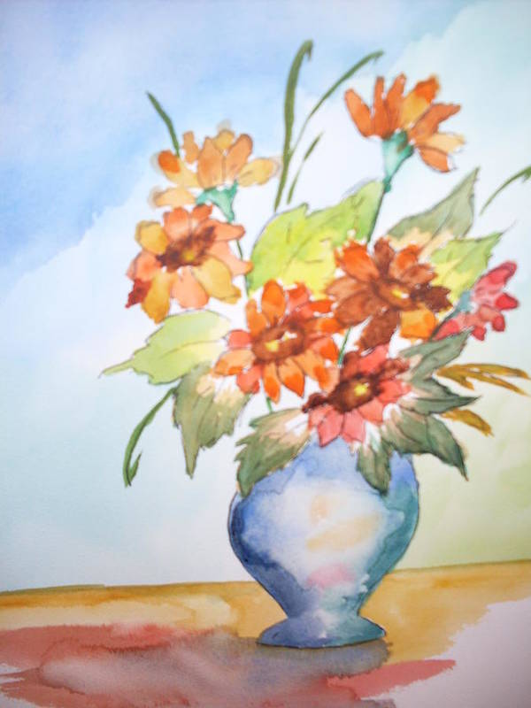 Floral Still Life Poster featuring the painting Fall Bouquet by Warren Thompson
