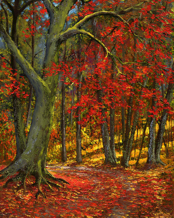 Landscape Poster featuring the painting Fallen Leaves by Frank Wilson