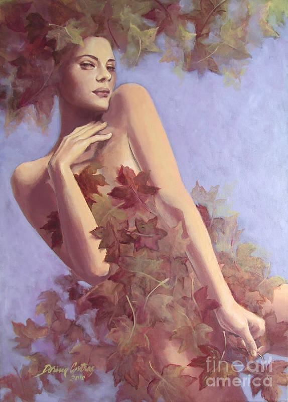 Painting Poster featuring the painting Fall...in Love... by Dorina Costras